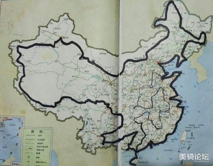 单骑环游中国两年半的骑行路线。