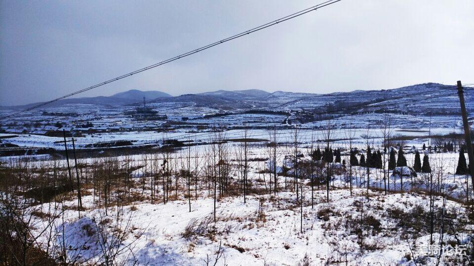 丘陵雪景。